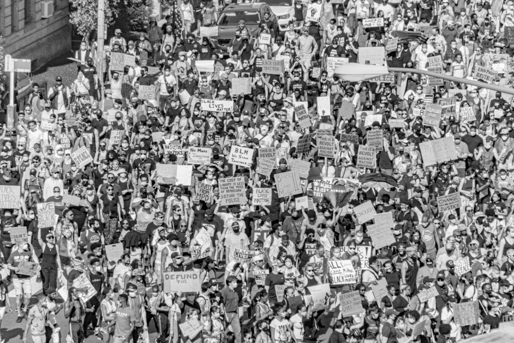 Black and white image of protesters